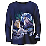 Evening Harmony Womens Shirt: Beauty Of The Moonlit Wolf