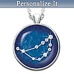 Birthday Zodiac Sign Crystal Astrology Pendant Necklace: Zodiac Star