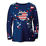 American Pride Patriotic Patchwork Women's Long-Sleeved Shirt