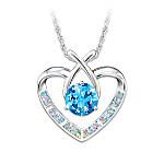 Blue Topaz Kiss Silver Heart Pendant Necklace