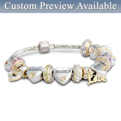 Child Name-Engraved Personalized Birthstone Bracelet For Mom: Forever In A Mother's Heart
