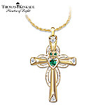 Thomas Kinkade Emerald & Diamond Claddagh Cross Pendant Necklace