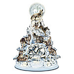 The Legend Of The White Wolf Sculpted And Illuminated Tabletop Tree