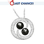 Lover's Knot Cultured Black Pearl & Diamond Pendant Necklace