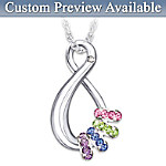 Personalized Swarovski Crystal Birthstone Pendant Necklace: Mothers Infinite Joy