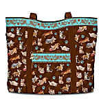 Kitten Capers Quilted Tote Bag with Cosmetic Case