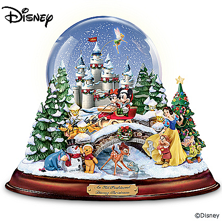 An Old Fashioned Disney Christmas Musical Snowglobe Showcasing 13 Classic Characters