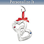Couples Name-Engraved Personalized Birthstone Ornament: Perfect Love