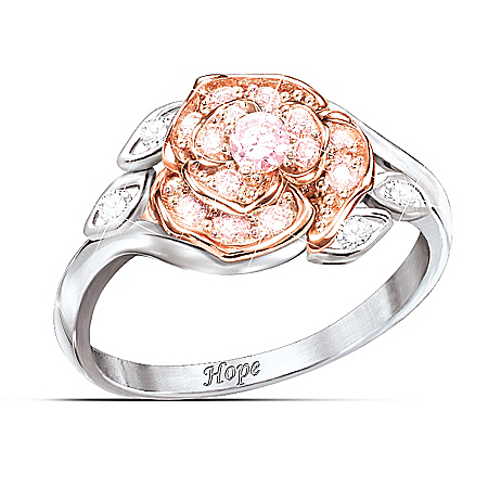 """The Rose Of Hope"" Women's Ring: Breast Cancer Hope Gift"