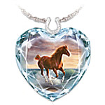 Surf Dancer Crystal Heart Necklace With Horse Artwork