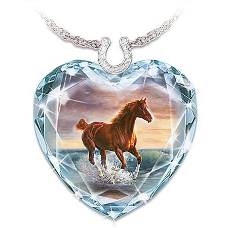 Surf Dancer Crystal Heart Necklace With Horse Artwork