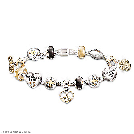 New Orleans Saints Swarovski Crystals Charm Bracelet