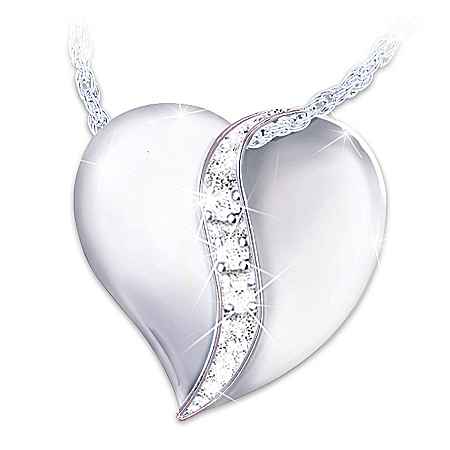 My Dear Granddaughter Diamond Heart Pendant Necklace