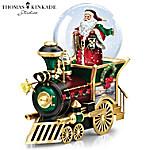 Thomas Kinkade Santa Claus Is Coming To Town Musical Snow Globe Train Car