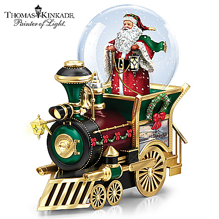 Thomas Kinkade Santa Claus Is Comin' To Town Musical Snowglobe Train Car