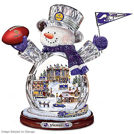 Minnesota Vikings Masterpiece Edition Crystal Snowman Figurine