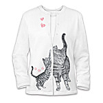 Welcome Home Womens Cat Art Sweater