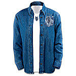 Spirit Of The Wilderness Womens Denim Shirt With Coordinating T-Shirt