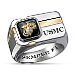 For My Marine - Sterling Silver And Black Onyx Men's Ring