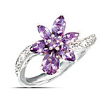 Lena Liu Orchid Diamond & Amethyst Sterling Silver Flower Ring