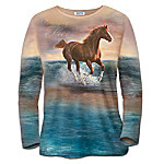 Running Free Womens Shirt With Wild Horse Art Of Chuck DeHaan