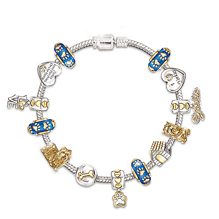 I Love My Yorkie Yorkshire Crystal Charm Bracelet