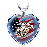 Military Crystal Heart Pendant Necklaces