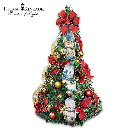 """Thomas Kinkade Merry Miniature"" 2-Ft Pre-Lit Pull-Up Christmas Tree"