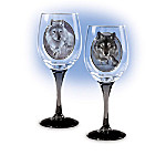 Legacy Of The Wild Wine Glasses: Wolf Art Glassware