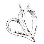 My Daughter, My Heart, My Love 3-Diamond Pendant Necklace