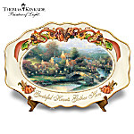 Thomas Kinkade Lamplight Village Grateful Hearts Gather Here Thanksgiving Art Platter