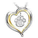"""Best Friends Forever"" Crystal Paw Print Pendant Necklace: Jewelry For Dog Lovers"