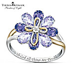 "Thomas Kinkade ""Blossom Of Faith"" Amethyst And Diamond Ring"