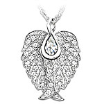 Wings Of An Angel Swarovski Crystal Pendant Necklace