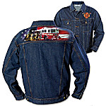 Your won't always be fighting fires and saving lies, but you'll always be part of a special brotherhood. Now you can demonstrate your blazing loyalty and firefighter pride every time you put on the Brotherhood of Courage firefighter jacket, a custom apparel exclusive from The Bradford Exchange. The perfect way to carry on the tradition wherever you go, this bold firefighter denim jacket showcases dramatic full-color montage image of firefighters in action and the American flag in full color across the back.Boasting a classic waist-length style, this men's firefighter jacket is custom crafted of rugged dark-wash medium weight denim and features 2 front pockets and 2 side pockets. The firefighter's badge of courage - the Maltese Cross - is boldly embroidered on the front, and the fine jacket design is finished with brushed metal buttons. Slip it on and everyone will know you're a proud firefighter through and through. Makes a dynamic gift for firefighters too! Strong demand is anticipated. Don't delay, order now!