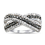 Midnight Kiss: Black And White Diamond Women's Ring