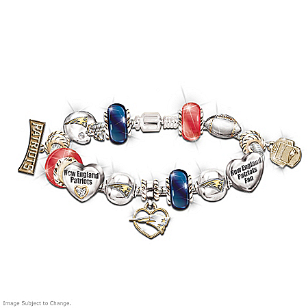 NFL New England Patriots Women's Charm Bracelet