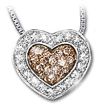 Heart-Shaped Chocolate Diamond Pendant Necklace: Heart Of Love