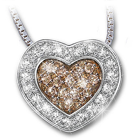 Heart-Shaped White And Chocolate Diamond Pendant Necklace: Heart Of Love