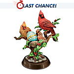 Enchanted Garden Treasures Cardinal Family Bird Sculpture With Limoges-Style Egg