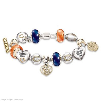 Chicago Bears Charm Bracelet With Swarovski Crystals
