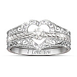 "Valentines Gifts I Love You"" Heart-Shaped Diamond Stacking Rings"