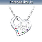 Family Is Love Personalized Genuine Birthstone Pendant Necklace