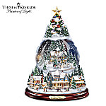 Thomas Kinkade Wondrous Winter Musical Tabletop Christmas Tree With Snowglobe