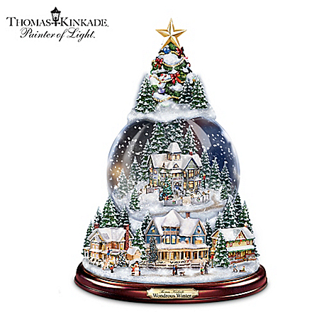 Thomas Kinkade Wondrous Winter Musical Tabletop Christmas Tree With Snowglobe: Lights Up!