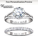 Diamonesk Personalized Engagement Ring And Wedding Band Set