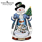 Thomas Kinkade Tis The Season To Be Jolly Christmas Musical Snowman Figurine: Lights Up!