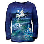 Land Of Enchantment: Womens Long-Sleeved Shirt With Unicorn Artwork