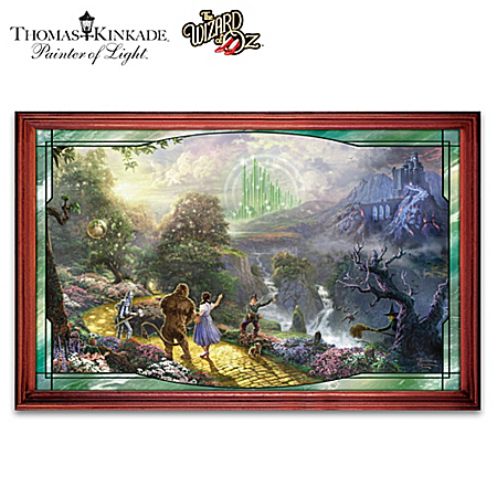 The thomas kinkade wizard of oz stained glass panorama 1 for Emerald city wall mural