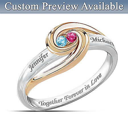 """Together Forever In Love"" Personalized Birthstone Ring"